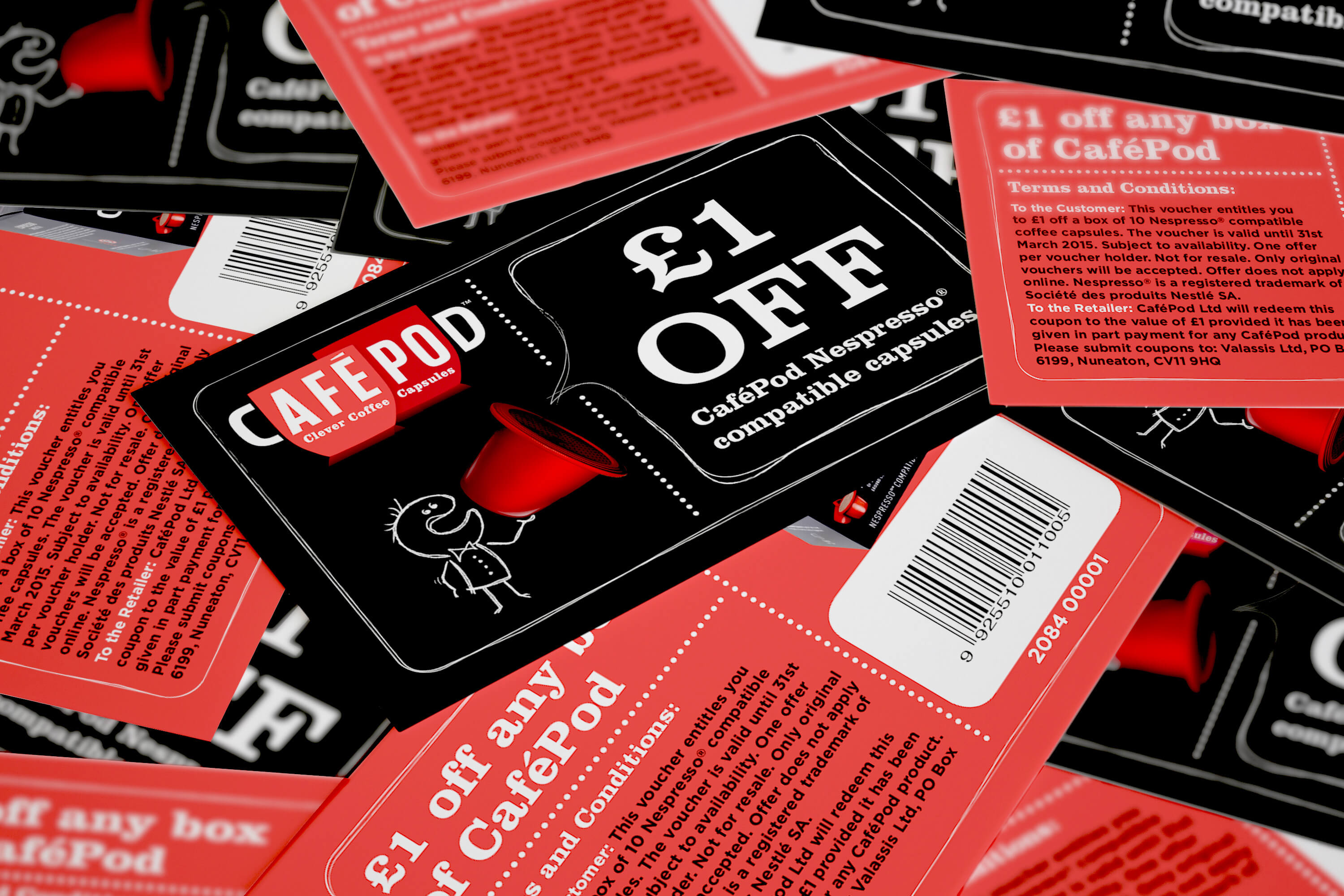 Close up of multiple CaféPod vouchers mixed up and showing both front and back design