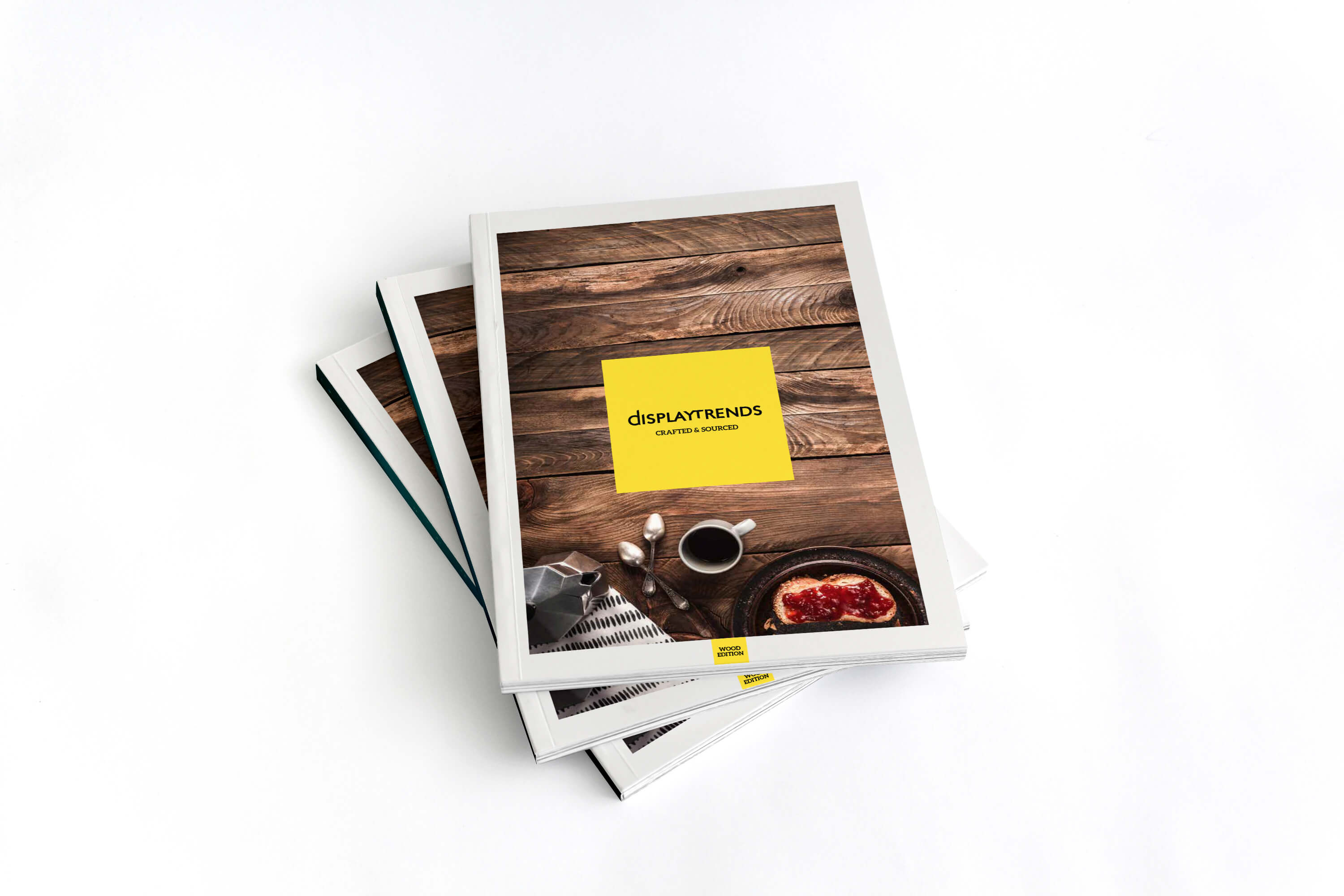 A stack of printed Display Trends catalogues showing design of front cover