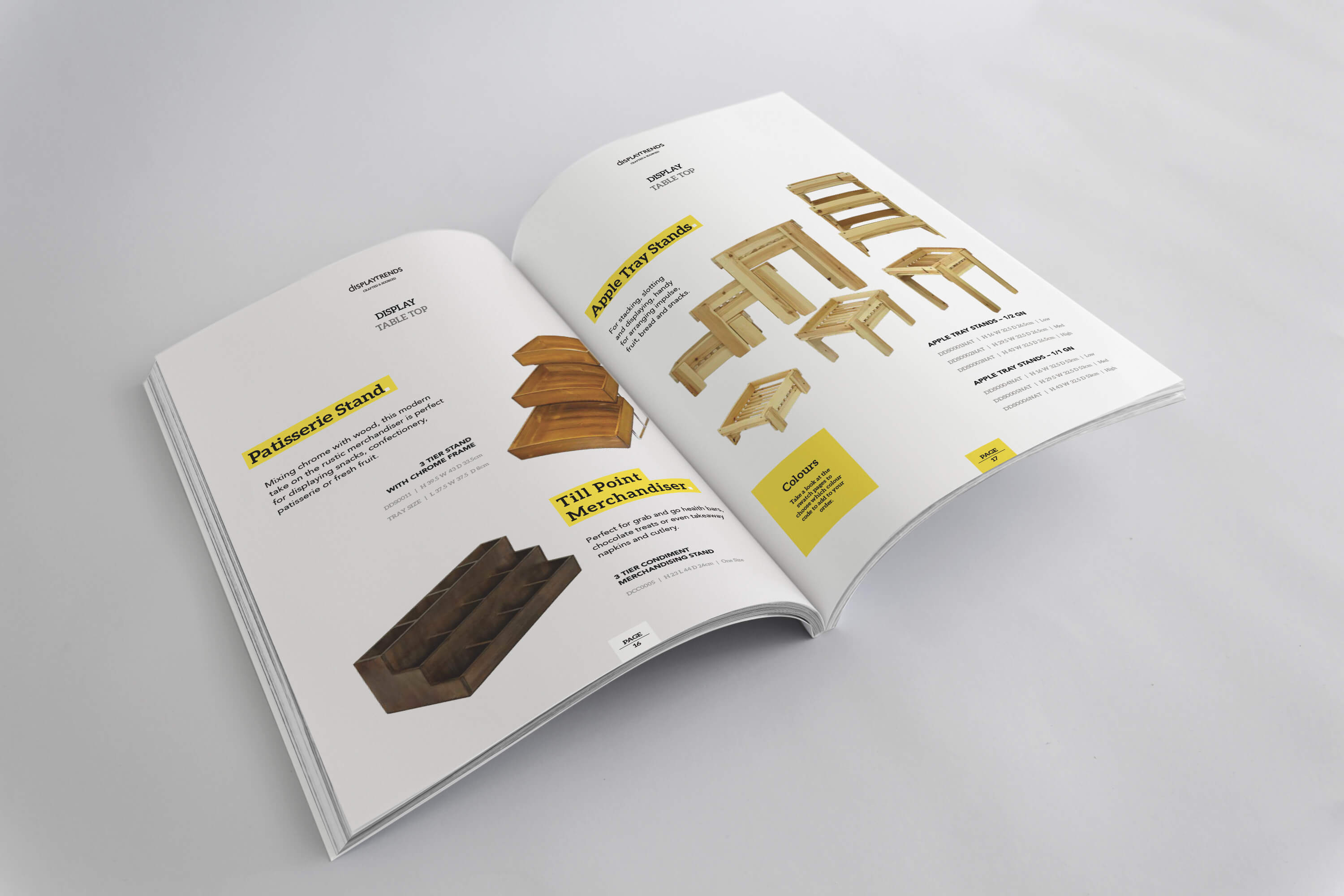 A open copy of the Display Trends catalogue showing the design of the internal pages
