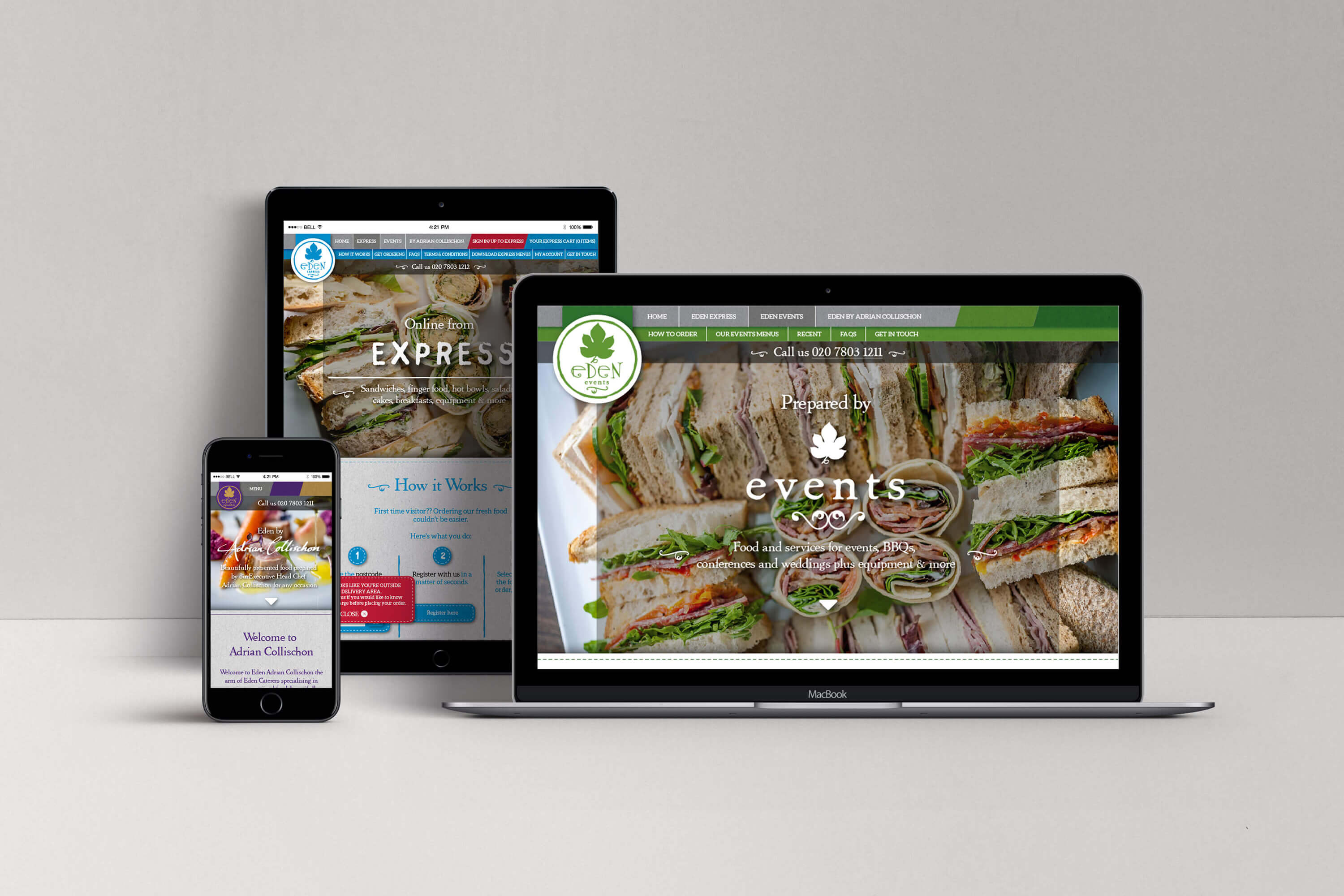 An iPhone, iPad and laptop each displaying one of the three Eden Caterers brands on their website