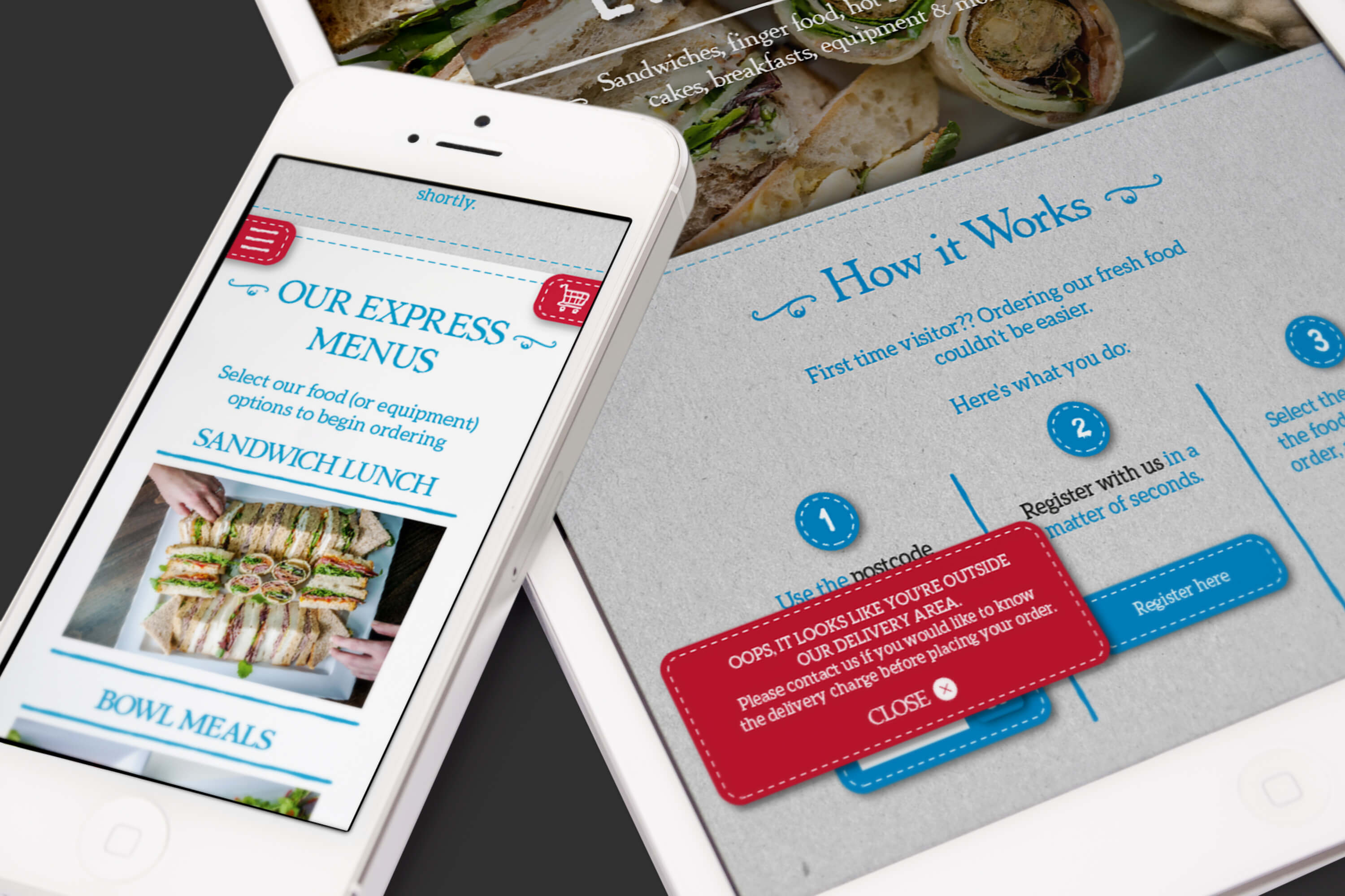 An iPhone and iPad displaying different parts of the Eden Caterers website design