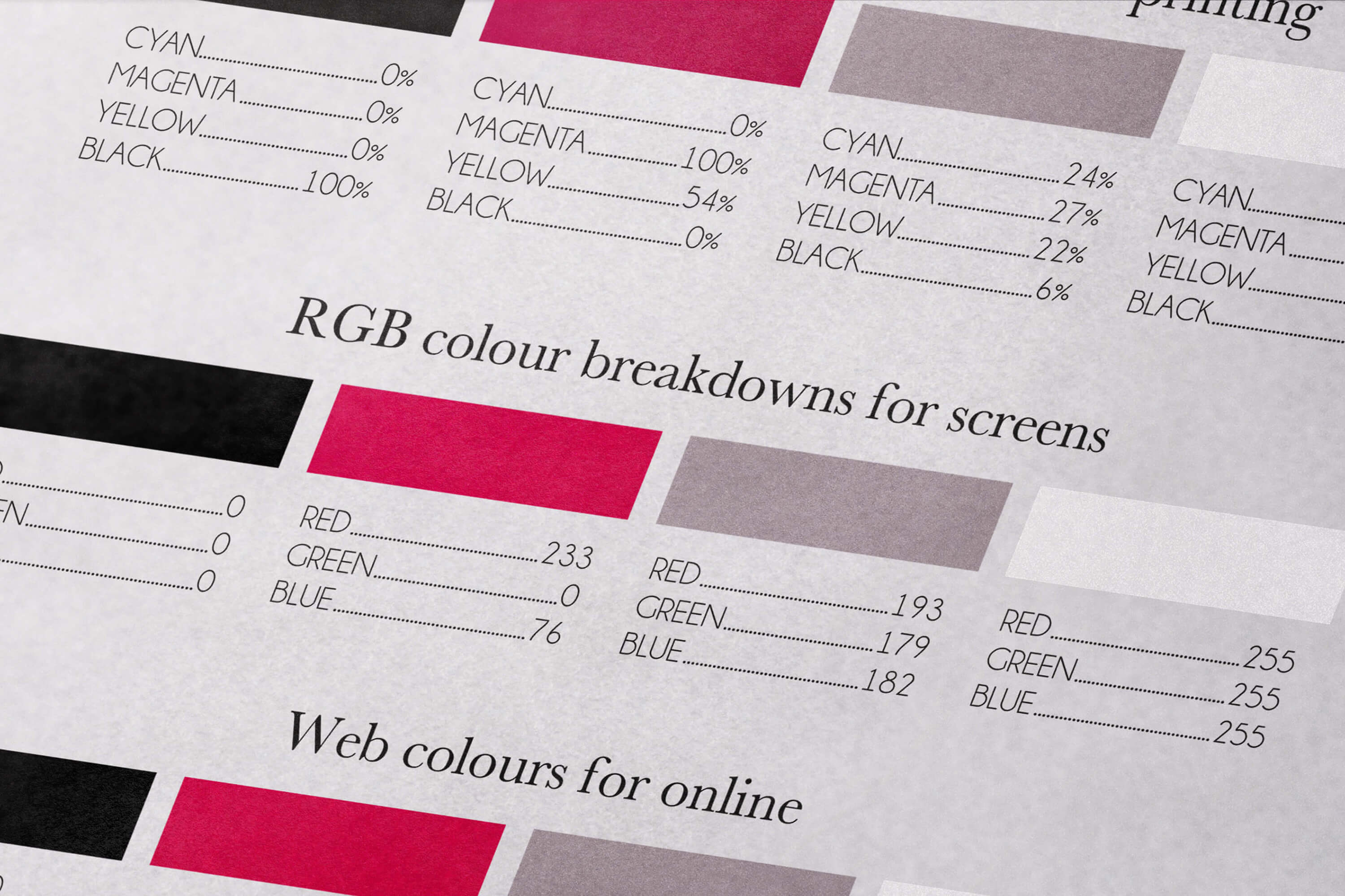 Close up of the Especial brand identity colour breakdowns