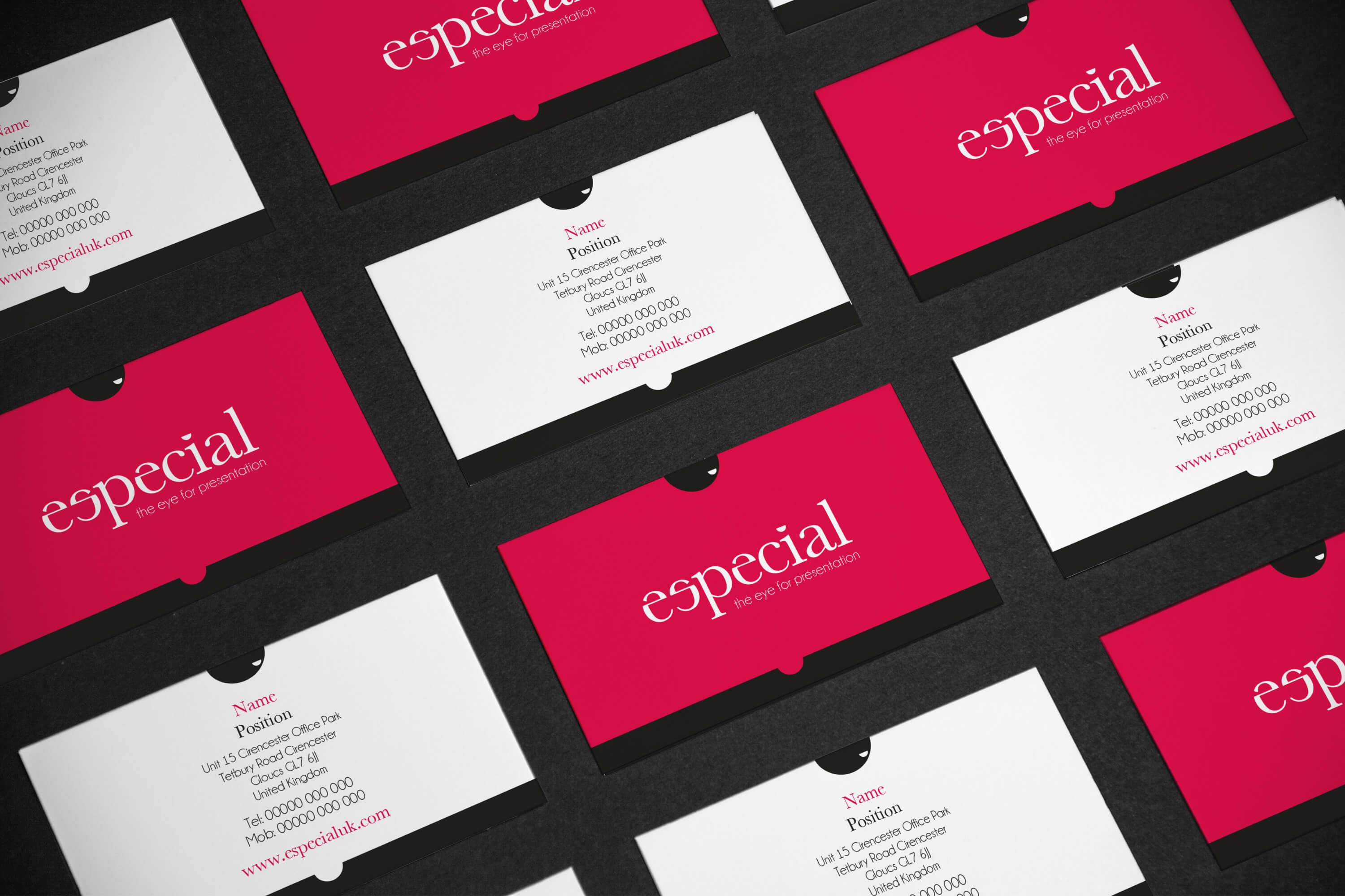 Multiple cards displaying the Especial business card design on front and back