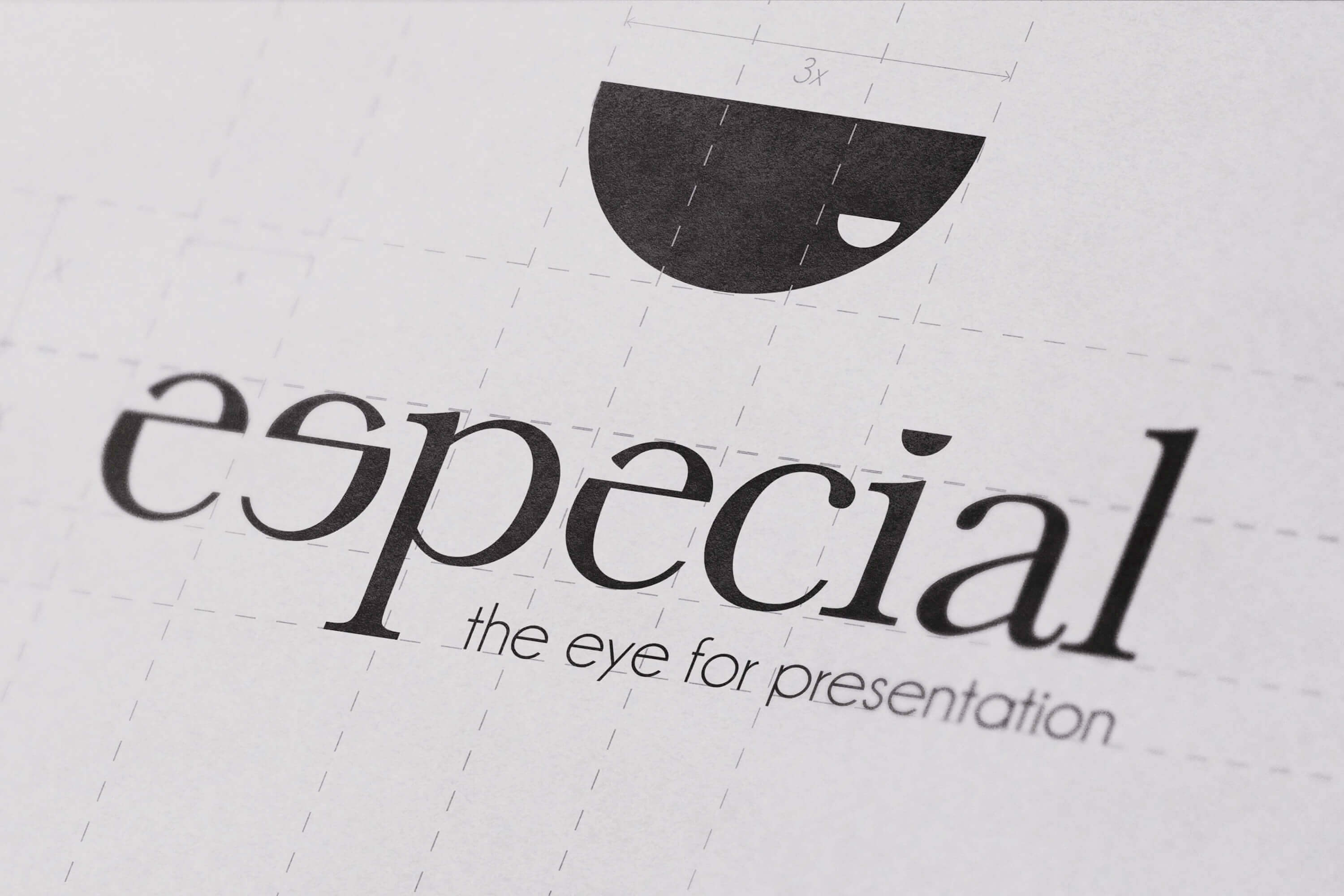 A close up of the Especial logo design development