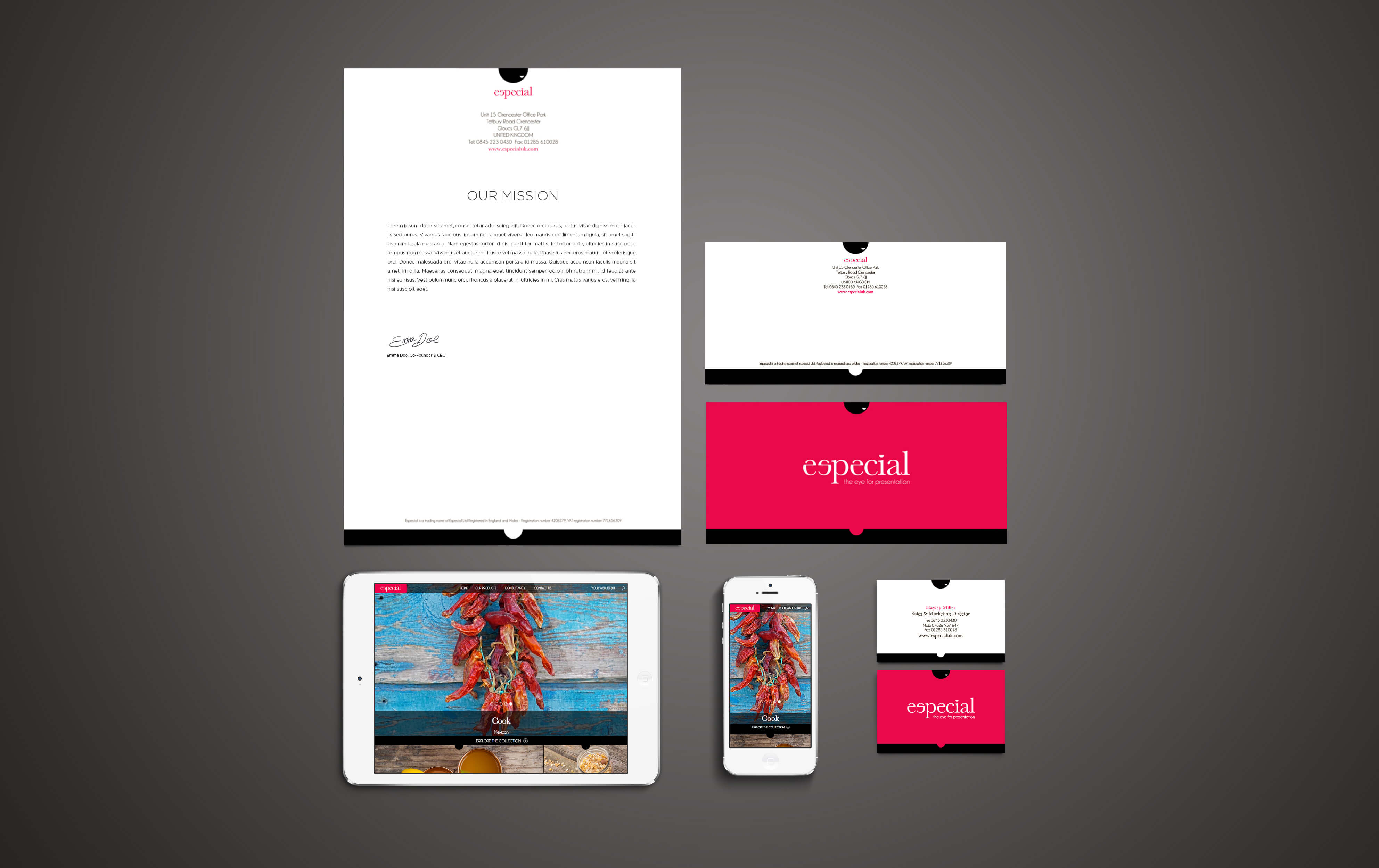 A shot from above showing the Especial website and stationery