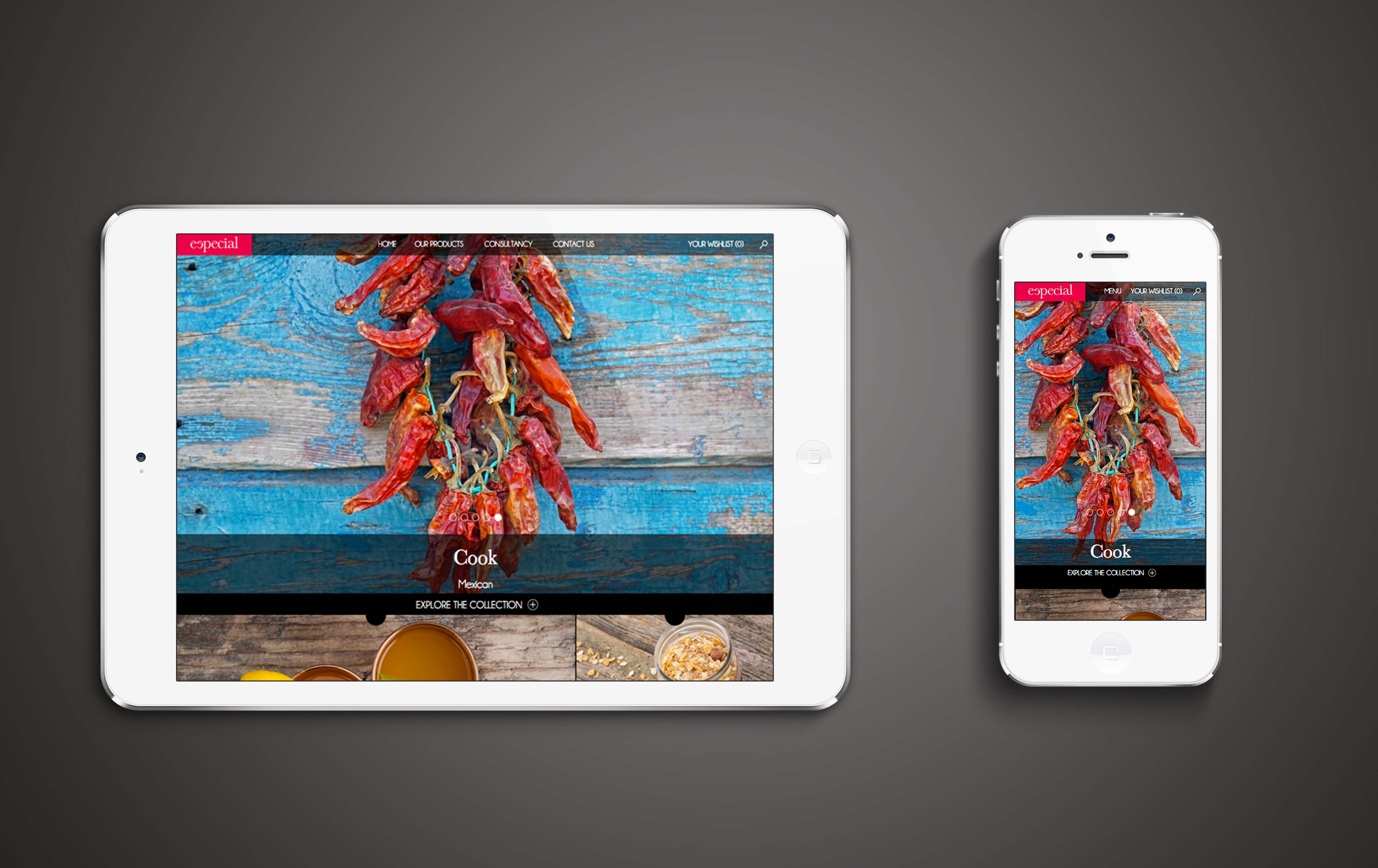 An iPad and iPhone displaying the Especial website home page design