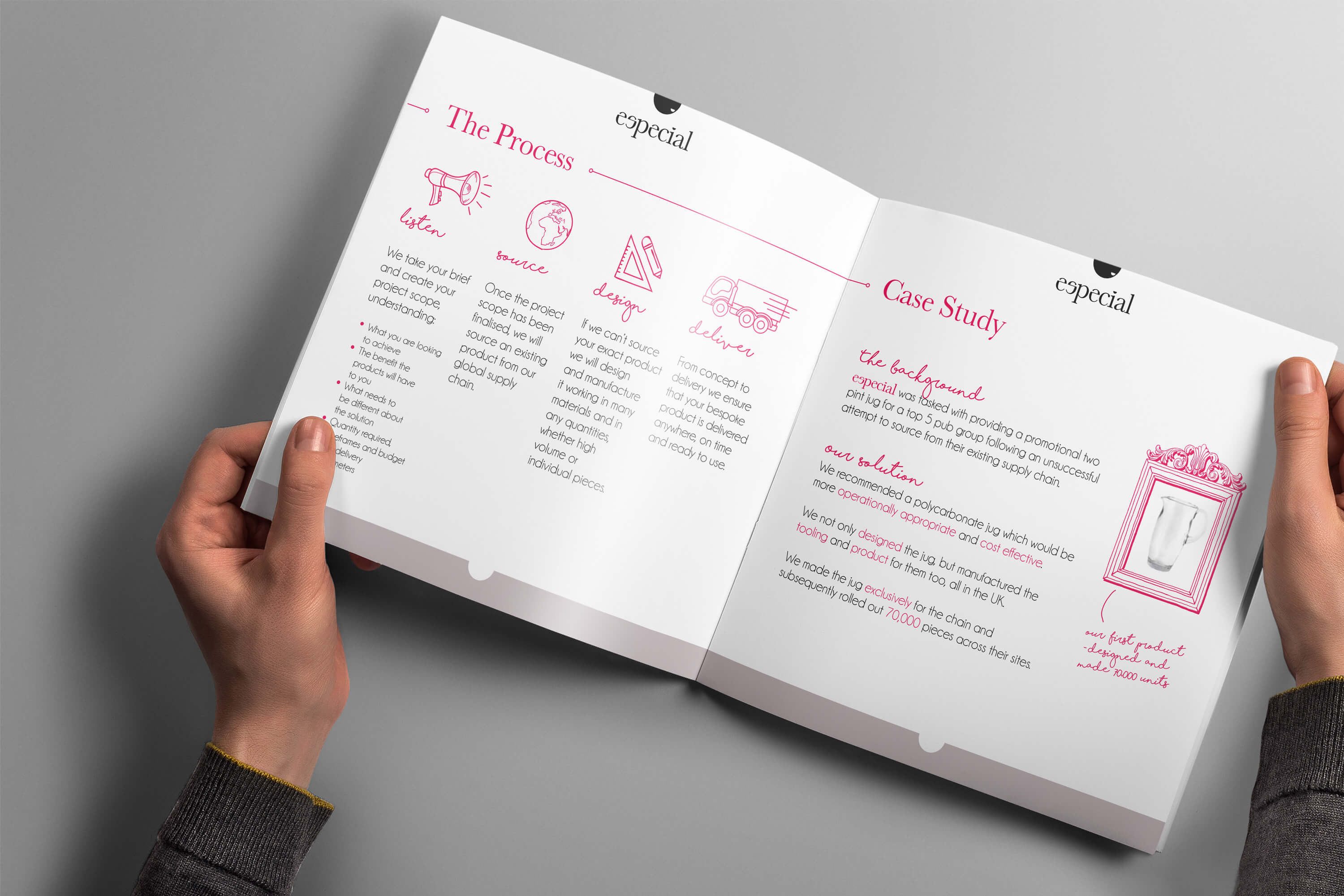 Especial Sourcing and Manufacturing brochure open to show process and case study pages