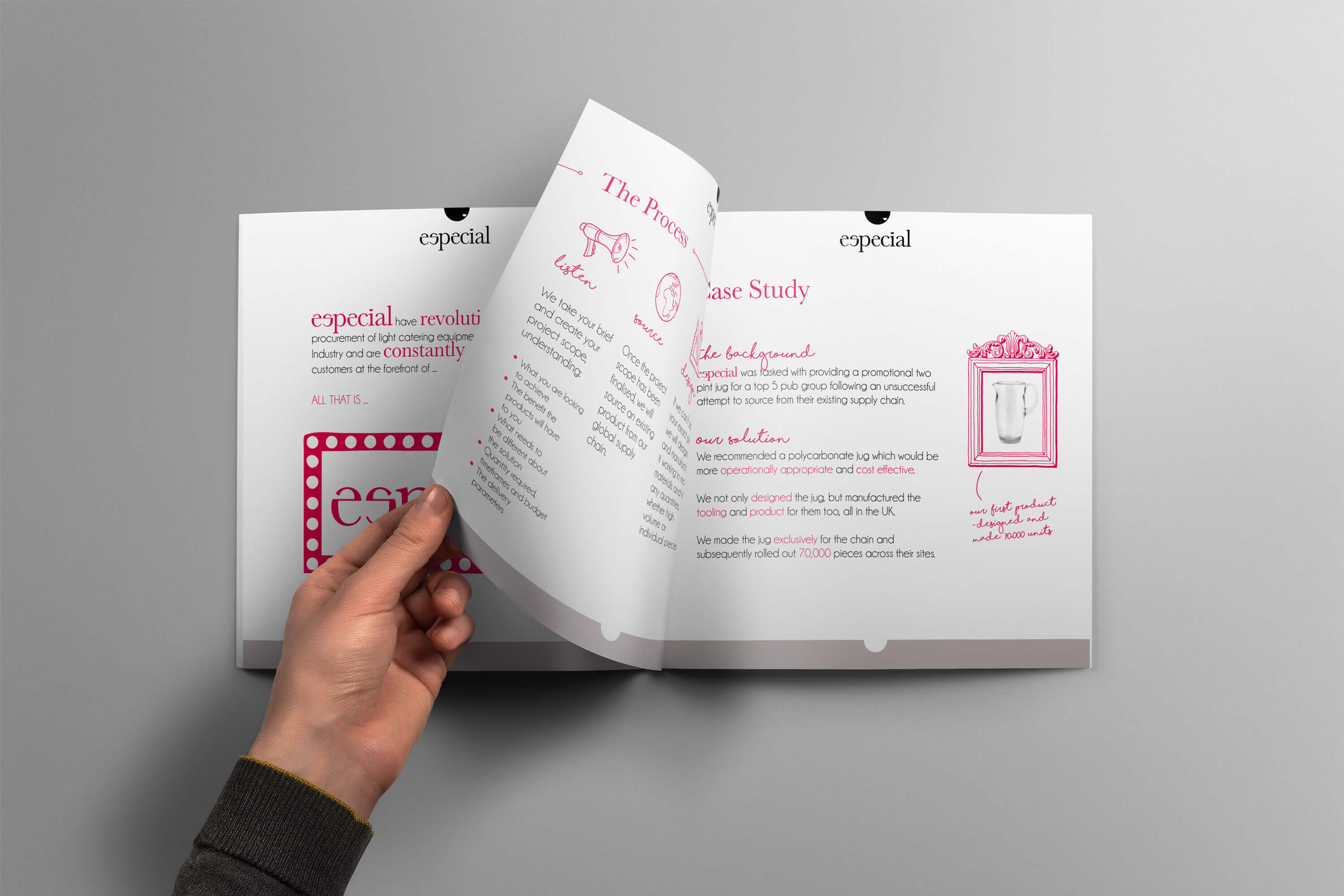 Hand holding open a spread showing internal pages of the Especial Sourcing and Manufacturing brochure