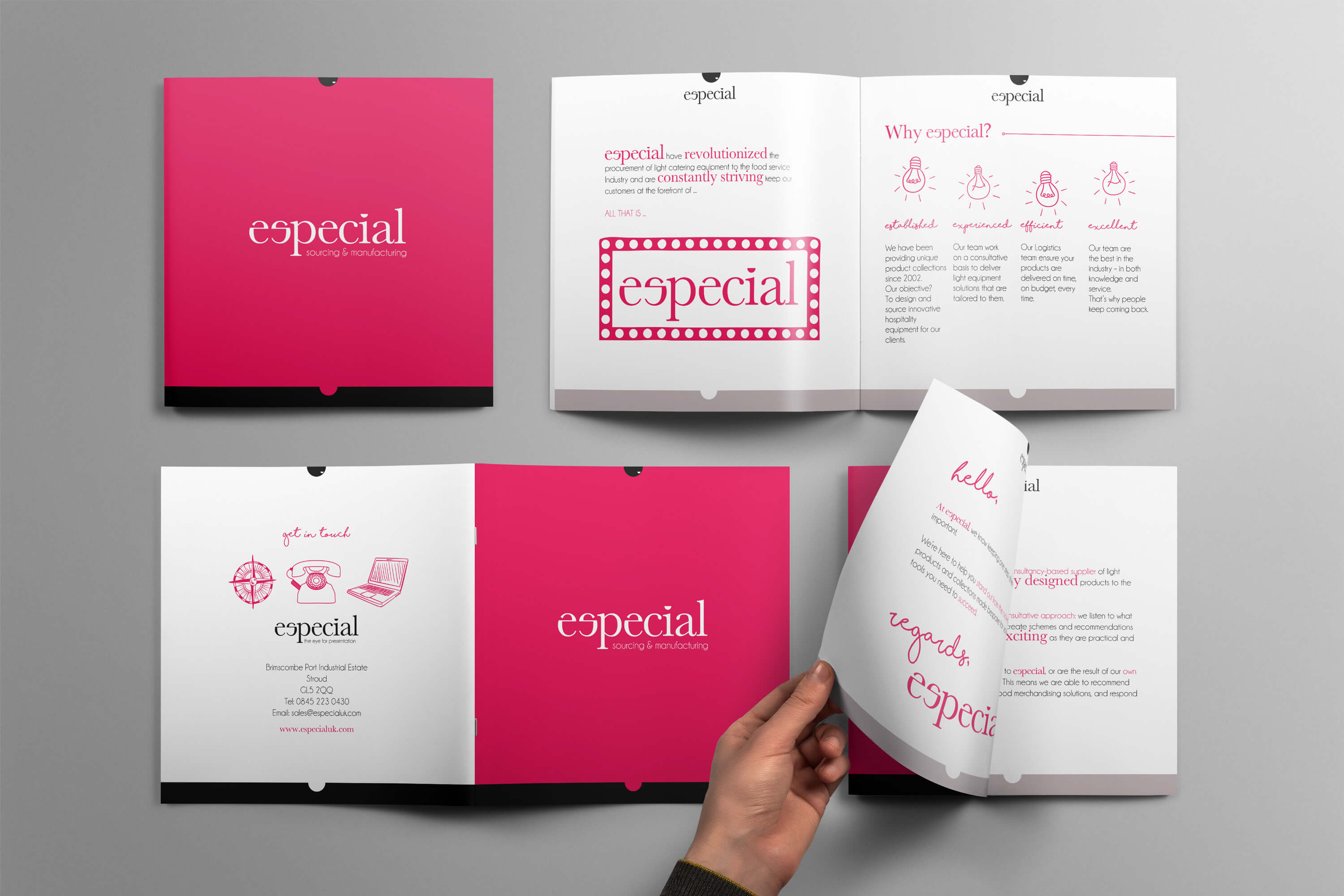 Especial Sourcing and Manufacturing brochure design displayed in different ways on table top