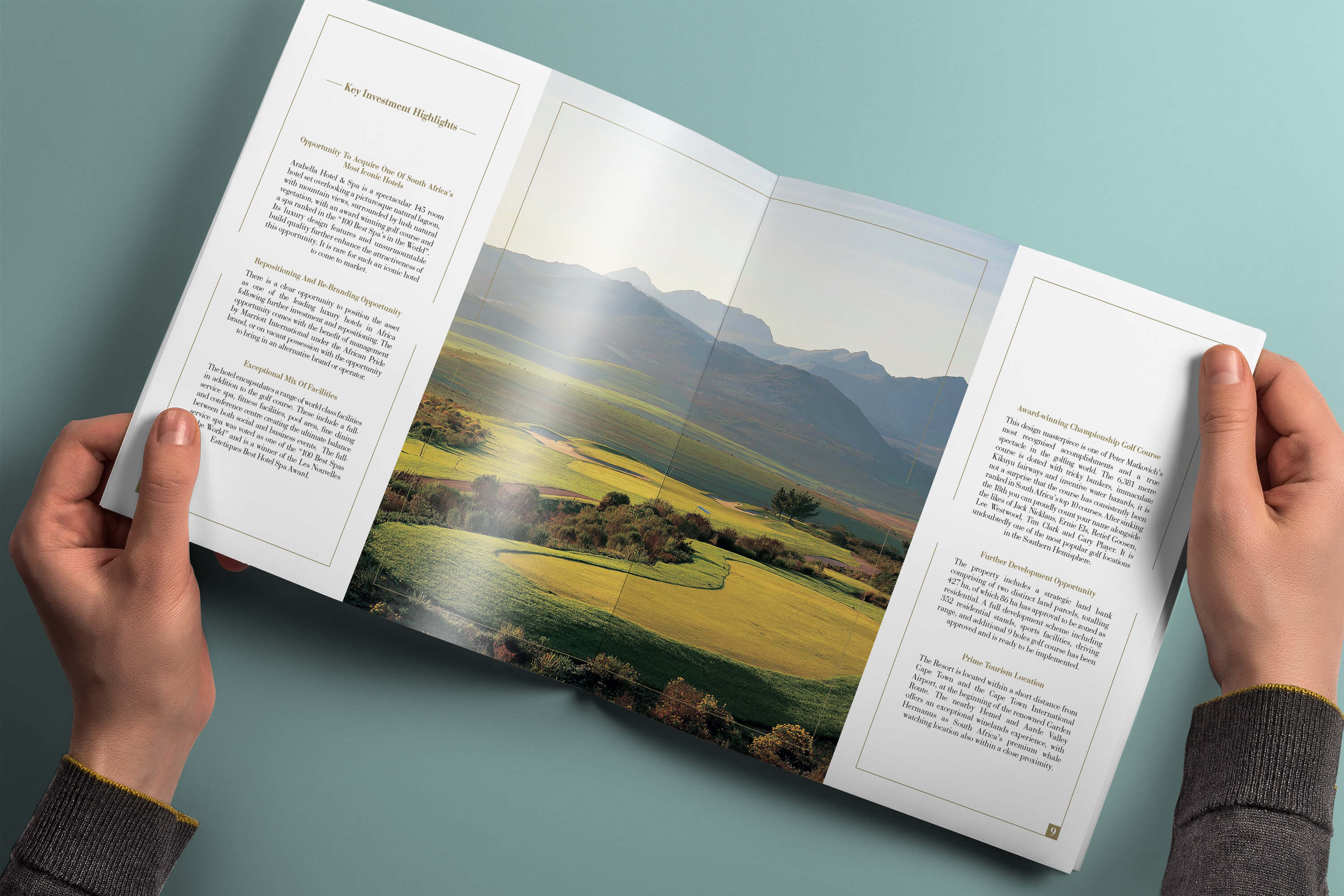 Internal spread of pages showing golf course within the JLL Arabella investment memorandum design