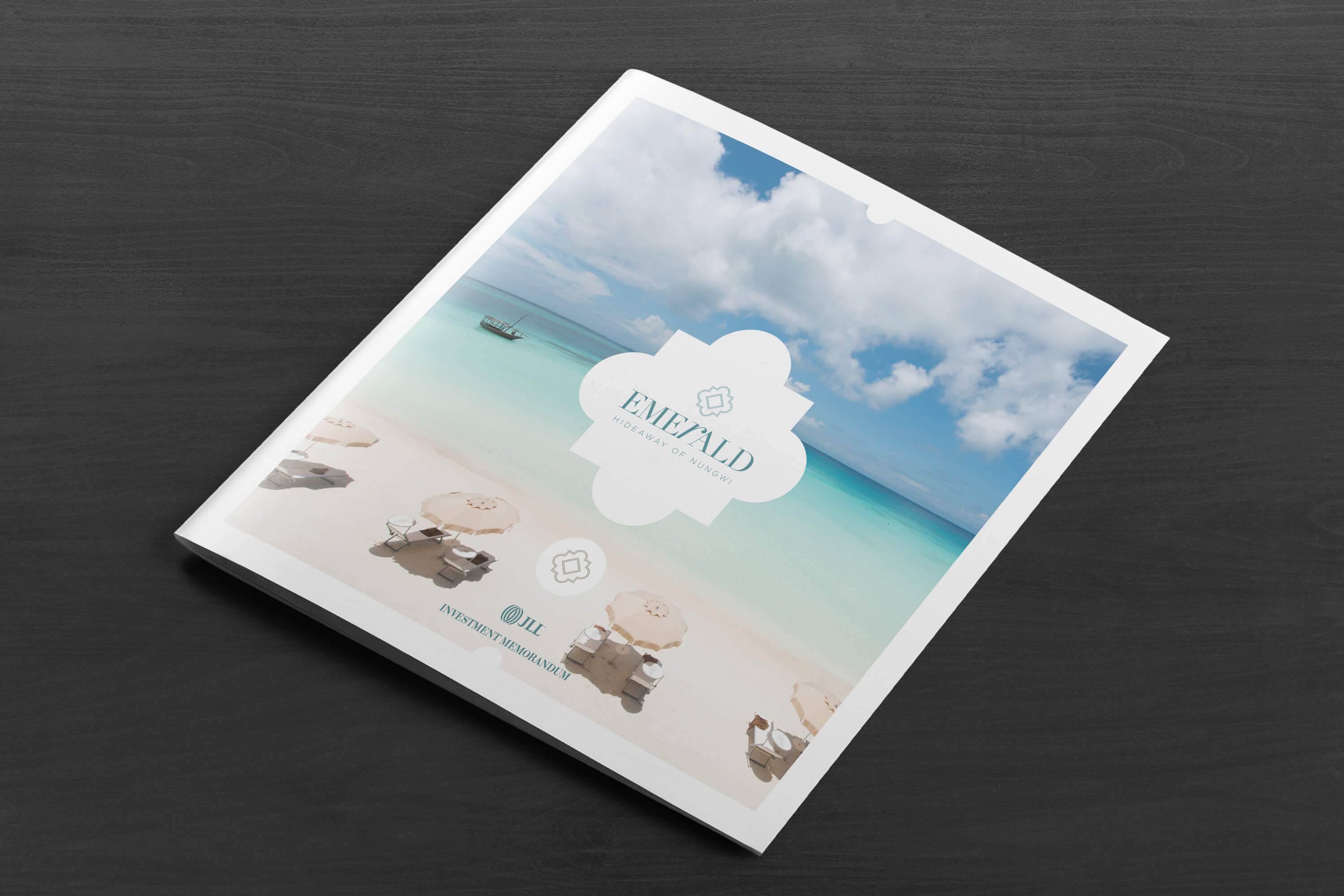 Front cover design for the JLL Emerald Resorts corporate brochure