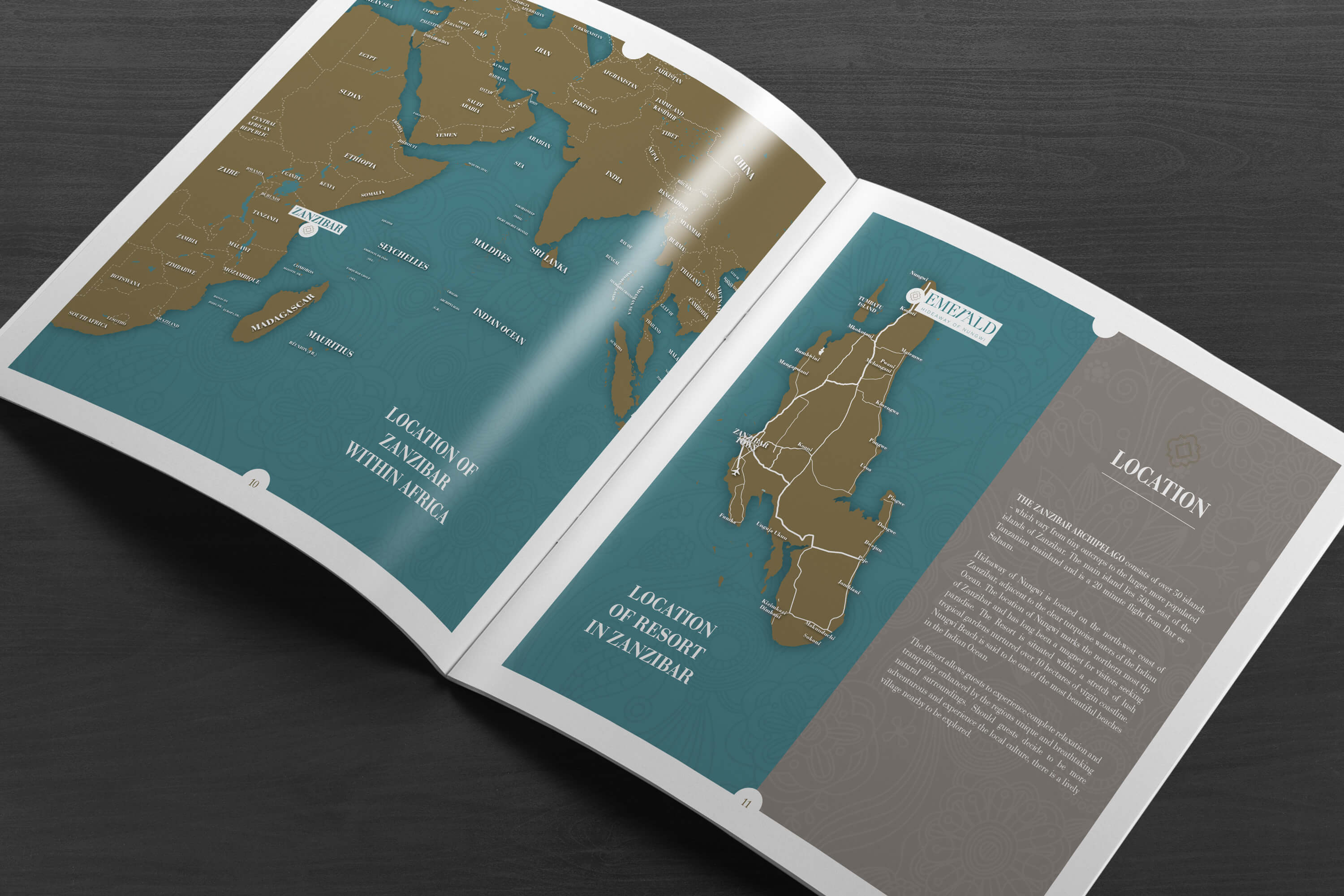 A copy of the JLL Emerald Resorts corporate brochure internal pages showing maps