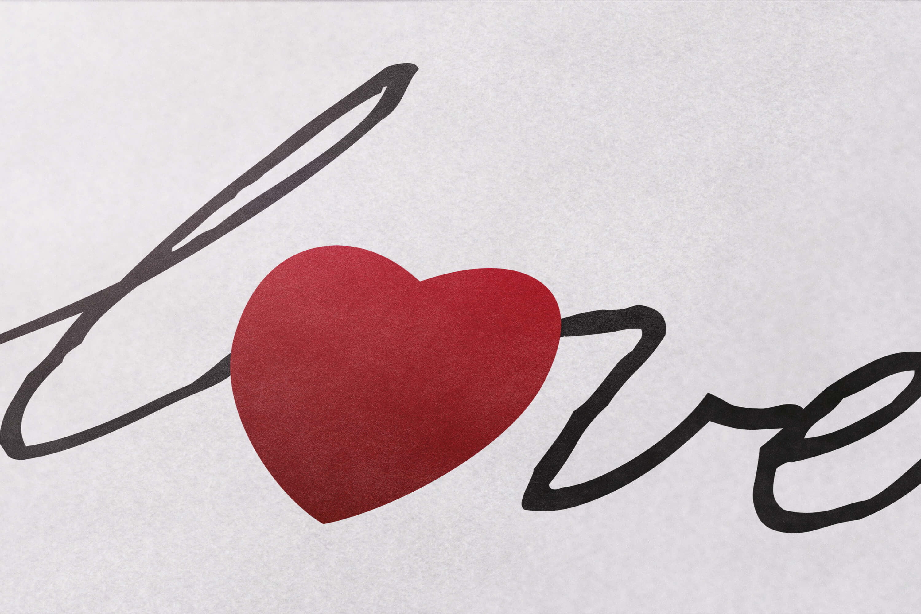 Close up showing detail of the Lovework logo design