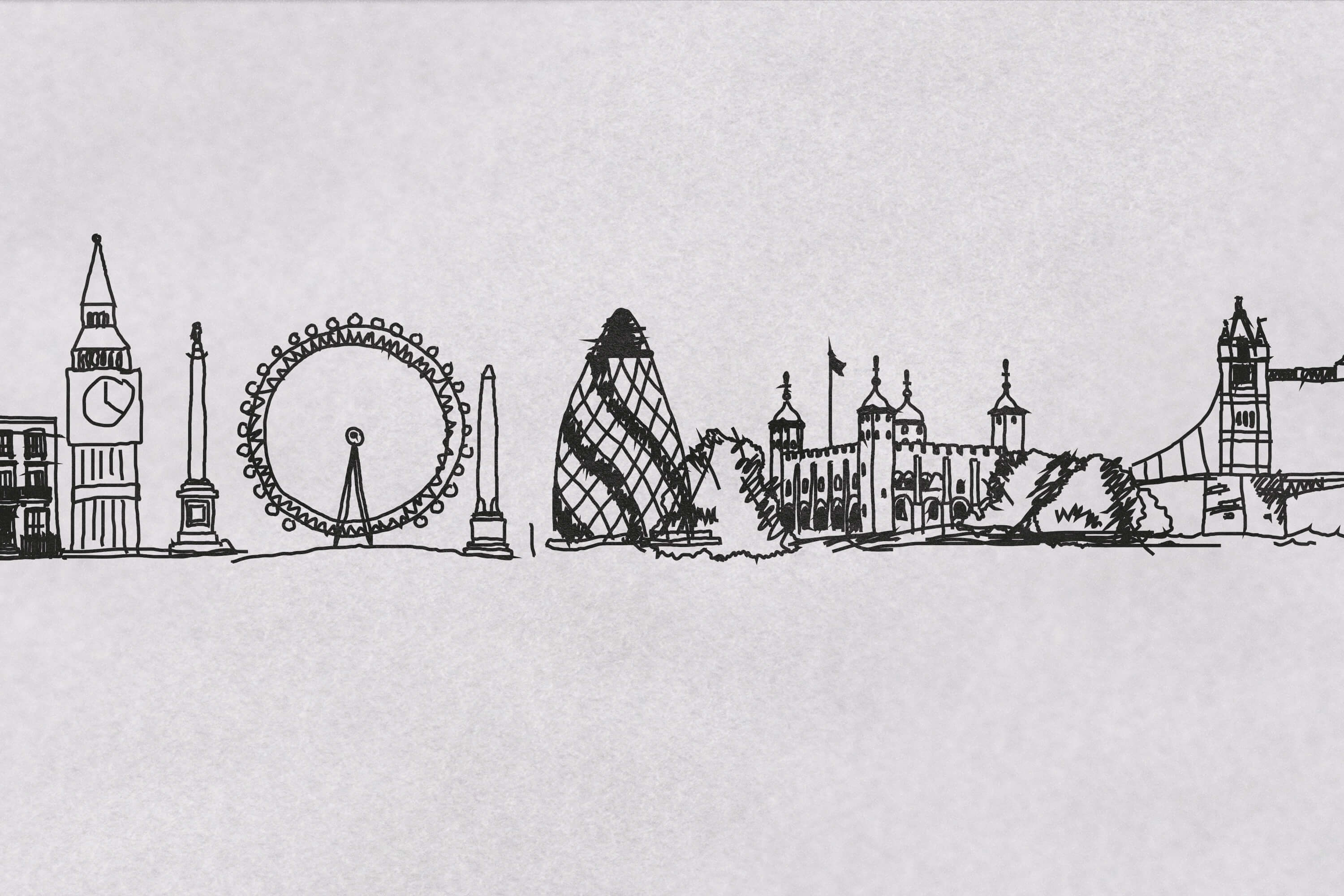 Detail of Lovework illustrated London skyline