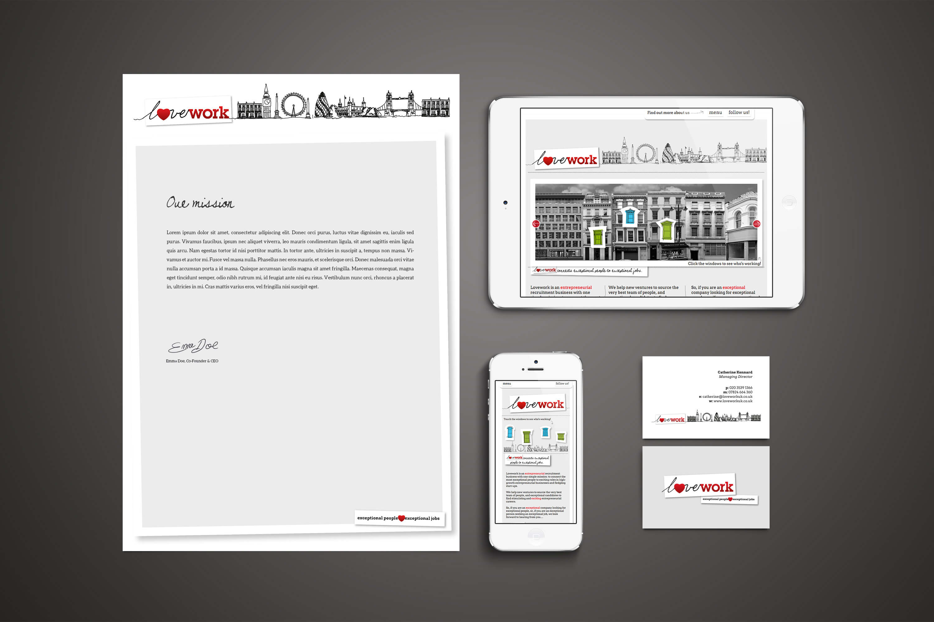 Photo showing Lovework branding on letterhead, business cards and website design on iPhone and iPad