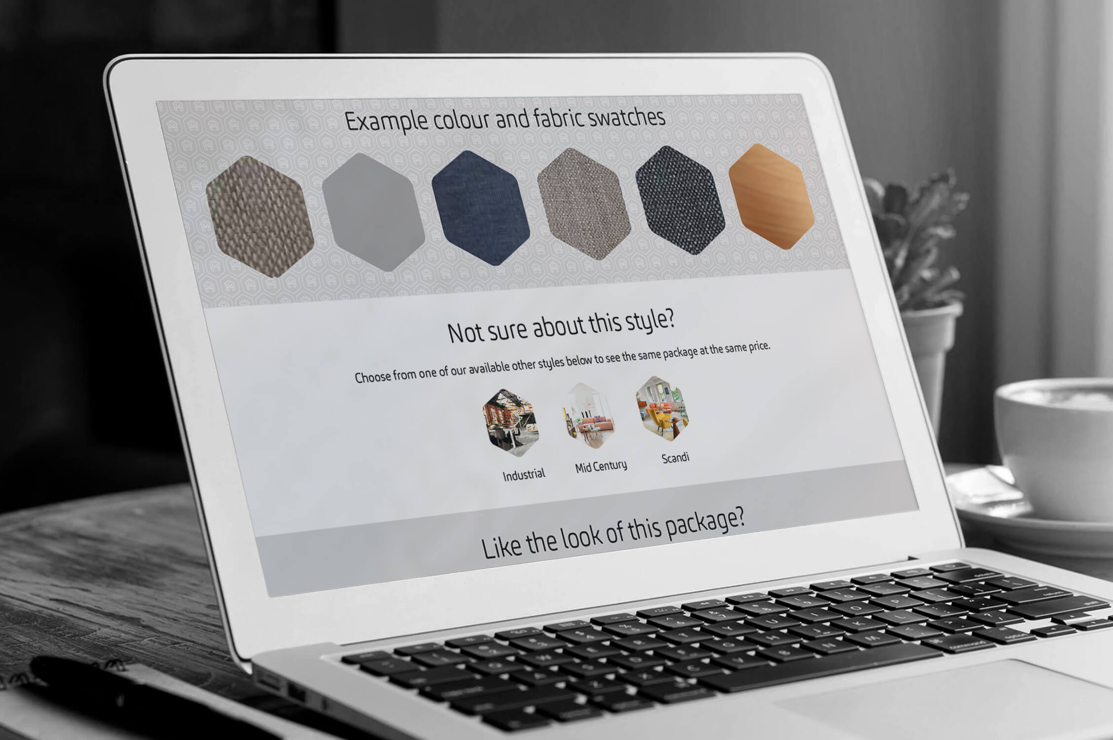 A laptop showing a part of the Make My House Home packages page design