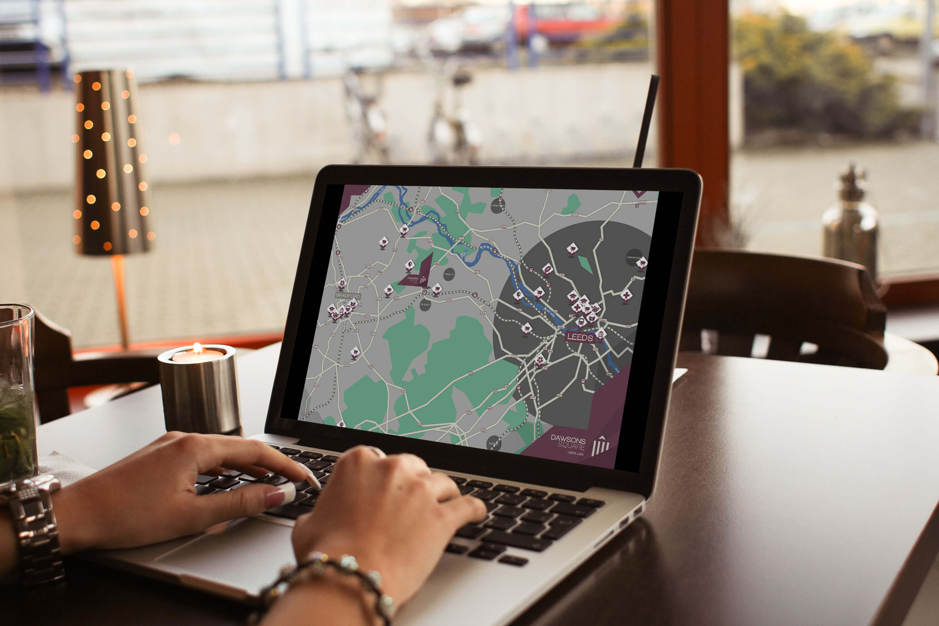 A laptop showing the bespoke Dawsons Square map design