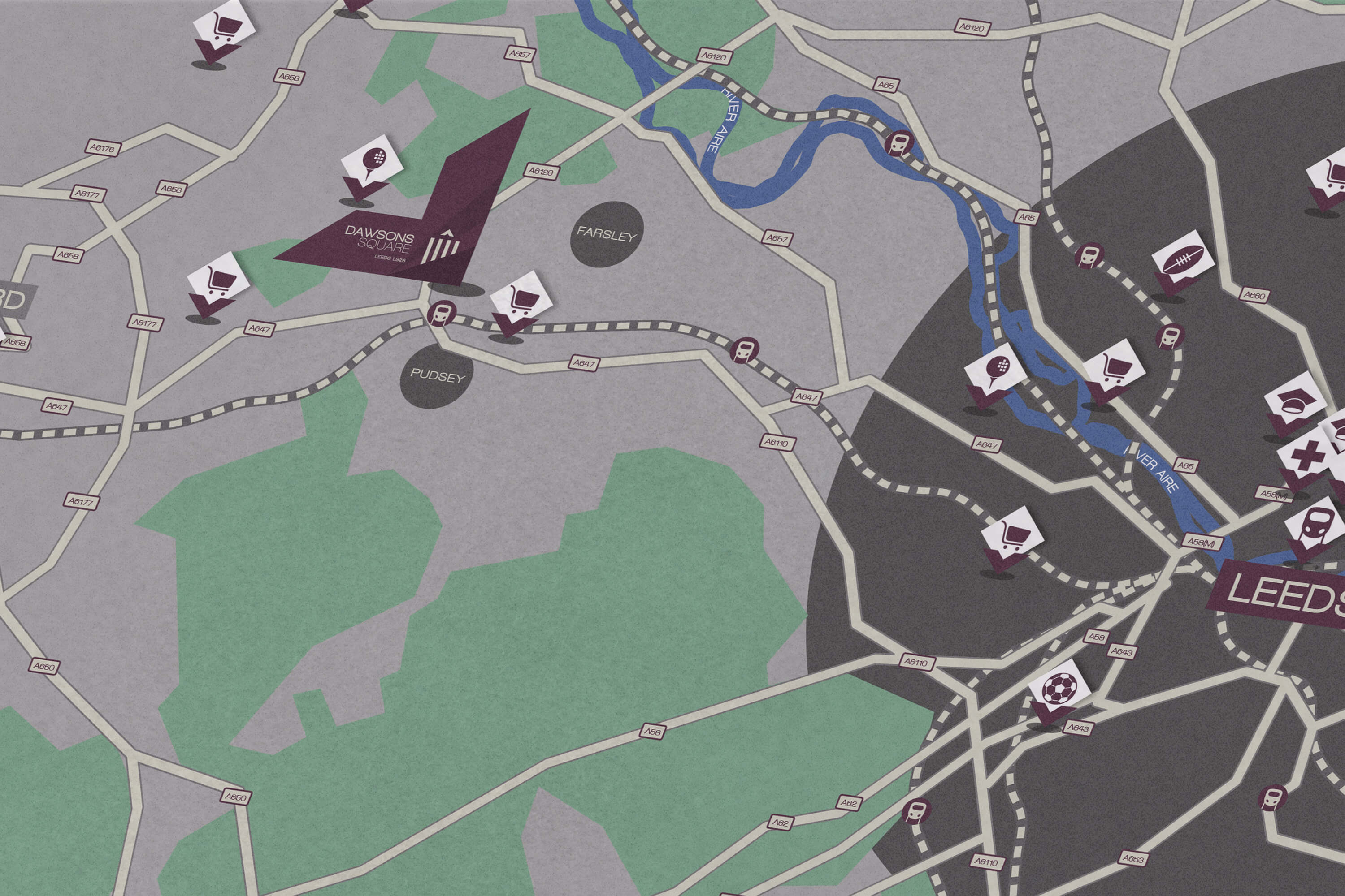 A close up of the bespoke map within the Dawsons Square digital brochure